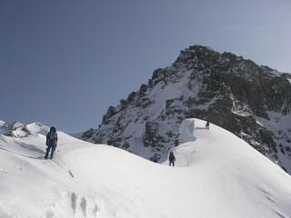 P2への雪稜
