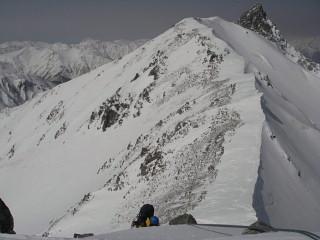 槍ヶ岳への稜線