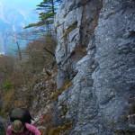 捨身ヶ嶽への岩場をゆく